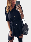 Black Collar Lace-up Design Single Breasted Button Long Sleeves Shirt Dress