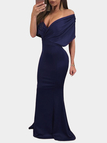 Navy Crossed Front V-neck Maxi Party Dress
