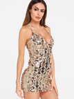 Apricot Sequins Embellished Spaghetti Strap Dresses