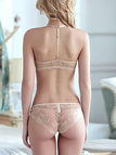 Nude Front Clasp Y-strap Lace Bras and Panty Set