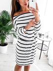 Black Stripe Pattern Off Shoulder Mini Dresses with Belt