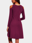Burgundy Cut Out Cold Shoulder Long Sleeves High-waisted Dress