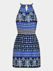 Totem Print Cut Out Self-Tie Mini Dress in Blue