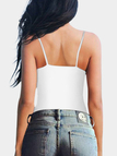 White Cross Strap Front Plain V-neck Cami