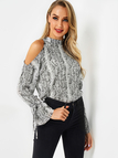 Animal Print Stand Collar Cutout Cold Shoulder Tie-up Cuffs Top