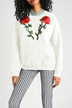 White Rose Embroidered Pattern Sweatshirt