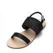 Black Casual Woven Leather Look Strap Buckle Flat Sandals