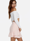 White Off The Shoulder Button-up Front Long Sleeves Crop Top