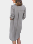 Grey V-neck Long Sleeves Irregular hem Chiffon Dress