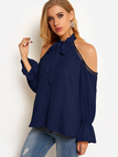 Navy Cold Shoulder Self-tie Design Halter Blouses With Bell Sleeves