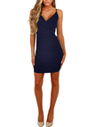 Navy Crossed Front V-neck Mini Dress