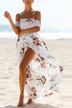 White Random Floral Print Off The Shoulder Dress With Slit Hem
