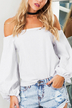 White Off Shoulder Puff  Long Sleeves Blouses