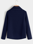 Navy Crossed Front Design Plain Roll Neck Long Sleeves Sweaters