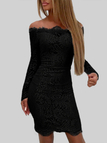 Black Lace Details Off The Shoulder Long Sleeves Bodycon Dress