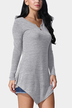Grey Casual V-neck Asymmetrical Mini Dress
