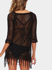 Hollow Out Knitted Mini Dress in Black