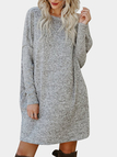 Grey Side Pockets Round Neck Long Sleeves Mini Dress