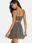 Black Random Calico Crop Top & Mini Skirt Two Piece Outfits