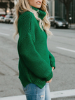 Green Knitting Roll Neck Long Sleeves Loose Sweaters