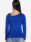 Blue Cut Out One Shoulder Long Sleeves T-shirt