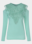 Light Green Lace Insert Cold Shoulder Long Sleeves Causal T-shirt