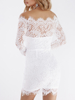 White Lace Details Off The Shoulder Long Sleeves Bodycon Dress