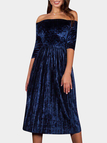 Blue Pleated Suede Off Shoulder 3/4 Length Sleeves Midi Dresses