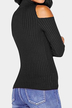 Black Open Shoulder Round Neck Bodycon Sweaters