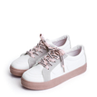 White Lace-up Letter Canvas Sneakers
