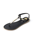 Black Buckle Design Thong Flat Sandals