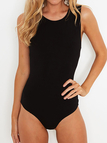 Sexy Round-neck Criss-cross Hollow Back Bodysuit in Black