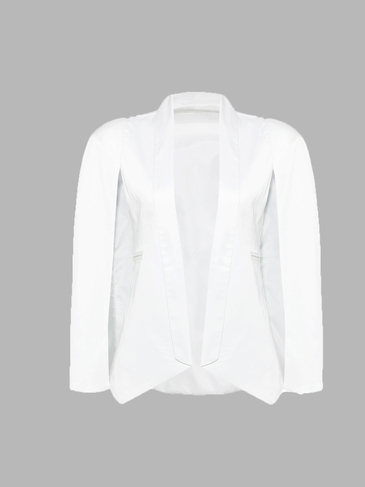 Satin White Cape Shoulder Blazer