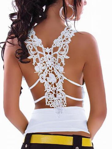 White Sexy V-neck Hollow Out Lace Insert Camis