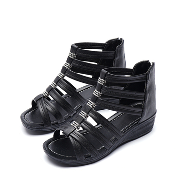 Black Peep Toe Zip Design Gladiator Wedge Sandals