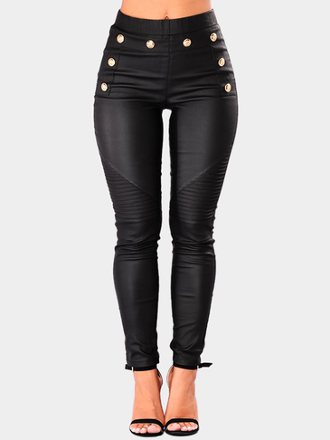 Black Pleated Design High-Waisted  Leather Details Legging