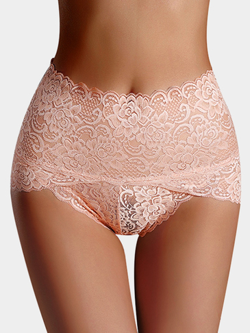 Nude High-waisted Lace Teddy Panties