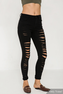Skinny Jeans With All-Over Shredded Rips