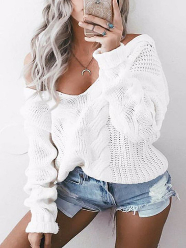 White V-neck Long Sleeves Causal Loose Jumper