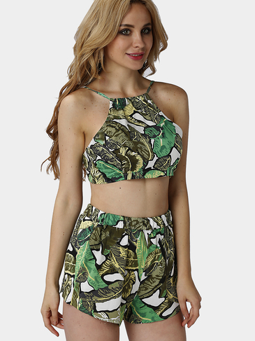 Green Foliage Print Self-tie Crop Top & Shorts Co-ord