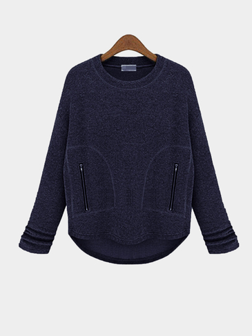 Navy Loose Sweatshirt with Zipper Pocket