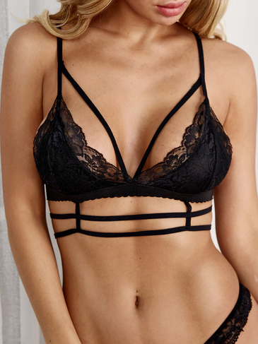 Black Sexy Strappy Lace Bralette Top