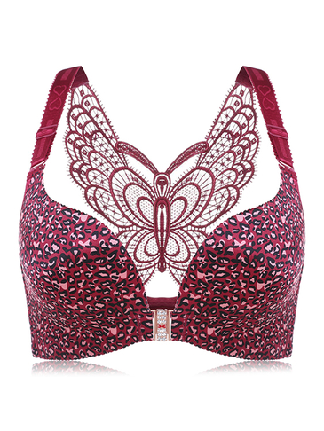 Burgundy Leopard Butterfly Embroidered Wireless Gather Front Closure Bra