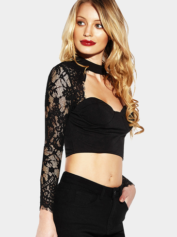 Black Sexy Lace Insert Cropped Body-con Top