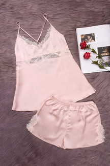 Pink Hollow Out Lace Trim V-neck Crossed Slip Pajamas