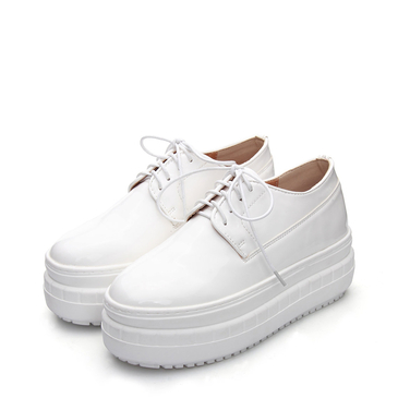 White Leather Look Platform Shoes