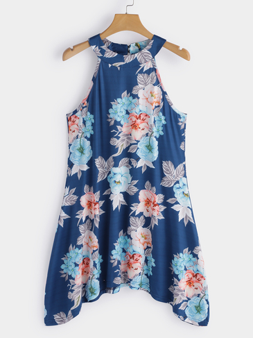 Blue High Neck Floral Print Cami Top