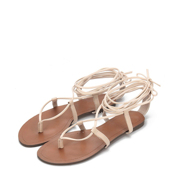 Apricot Toe Post Strappy Lace-up Flat Sandals