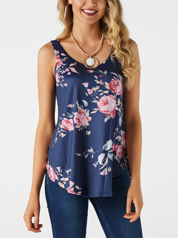 Blue Crossed Back Design Floral Print Round Neck Camis
