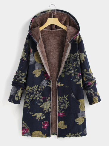 Plus Size Navy Hooded Design Floral Print Coat